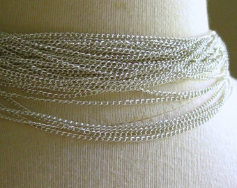 Silver Plated Curb Chain 3mm by 2mm 1 Foot 31 cm SB32E