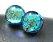 Small Stud Earrings, Dichroic Fused Glass Posts in Sparkling Cool Jade Green