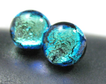 Stud Earrings, Dichroic Fused Glass Posts in Sparkling Cool Turquoise Blue/Green