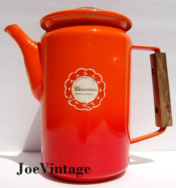 Descoware Flame Orange Coffee Tea Pot