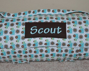 Nap Mat - Monogrammed Grow With Me Trucks Nap Mat with a Brown Minky Dot Blanket