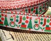 "3 yards 7/8""  Vintage feel CHRISMAS Themed Trees Stockings and more Grosgrain Ribbon d"