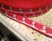 "3/8"" Christmas Themed Snowman RED sold by the yard Grosgrain Ribbon"
