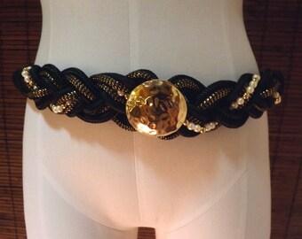 Vintage Goldtone medallion and faux pearl Black Braided Rope cinch belt M-L