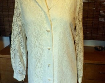 Vintage 70s Alfred Shaheen Cream Lace Midi boho Shift  Dress L-XL