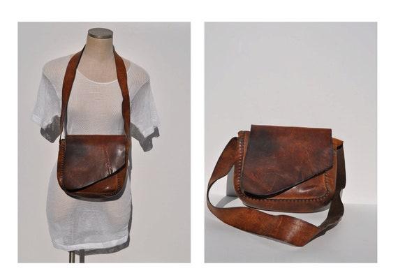 vintage leather bag vintage leather hippie purse custom hand made leather bag.