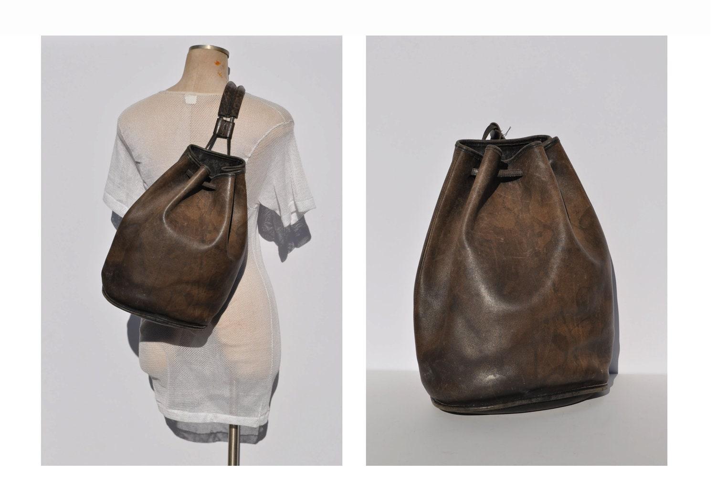 vintage coach leather bag SLING backpack shoulder distressed