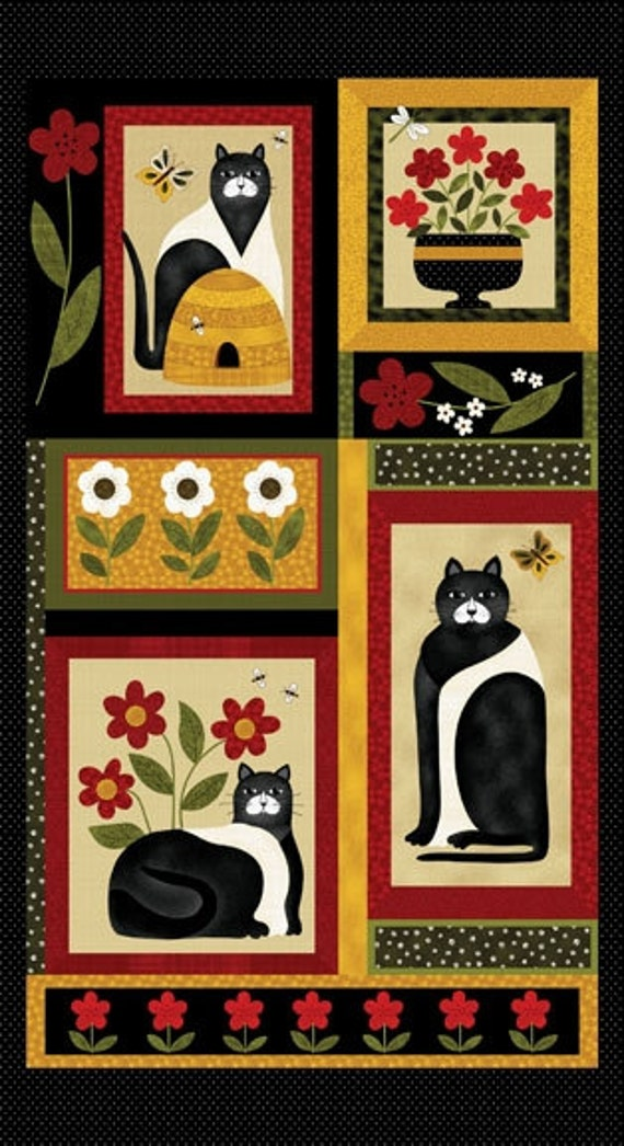 Cat For All Seasons Fabric Panel 24 X 44 For Quilt