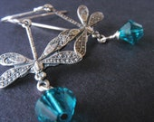 Little Dragonfly Earrings with Swarovski Crystals - Antiqued Sterling Silver - Blue Zircon - Dragonfly Jewelry
