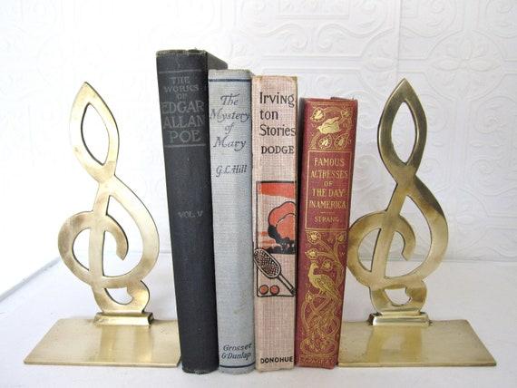 Vintage brass musical note treble clef bookends by thelazypeacock - Treble clef bookends ...