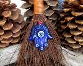 Rita's Hamsa Evil Eye Amulet Hoodoo Cinnamon Broom - RESERVED Amanda House Blessing, Protection from the Evil Eye, Success, Good Luck