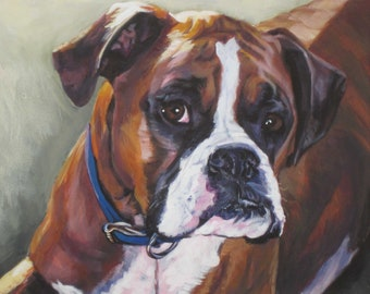 Boxer dog portrait CANVAS print of LA Shepard painting 8x10 dog art