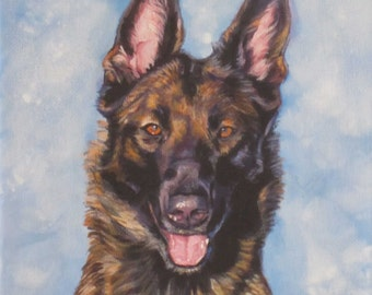 Belgian Malinois portrait dog art CANVAS print of LA Shepard painting 8x8
