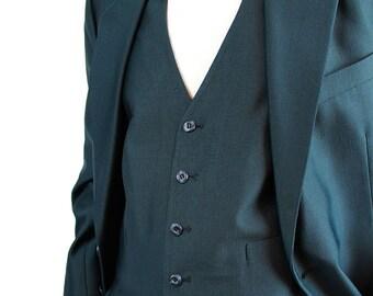 3 Piece Suit - Vintage Blazer Vest Pants 40 Long 40L 36x31 Disco Costume Dark Blue Sheen Shiny FREE US Shipping