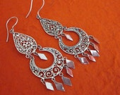 Unique Balinese Silver chandelier Earrings / silver 925 / Bali Handmade Jewelry / 2.75 inches long