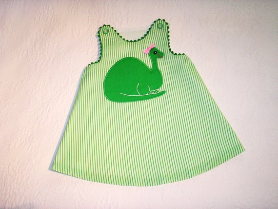 Size 2  A Line Jumper Dress with Dinosaur Applique and Ready to Ship