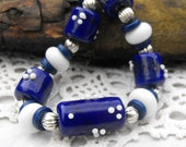 LilLizaJane jewellery - blue and white lampwork bead necklace