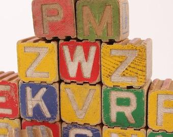 Vintage Wood Blocks 40s 50s Letter Animal Colorful Set
