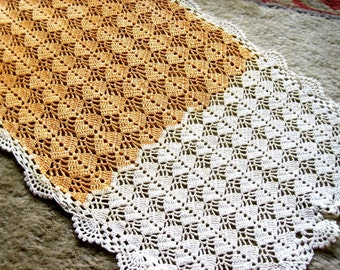 Runner table scarf orange creamsicle and white textured crocheted lace set with potholder hand made authentic 1950s