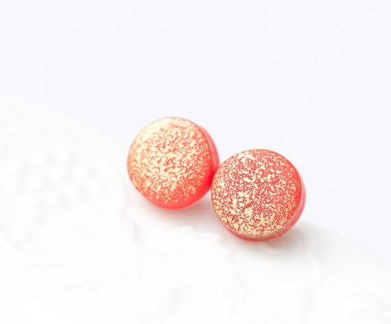 Gold Spattered Stud Earrings Red Chinese fall fashion geometric jewelry rusteam tbteam Free Shipping