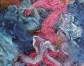 Suri Alpaca Fiber, Hand-Dyed, 3.5 Ounces, Raspberry, Cornflower, Musk, Violet, Natural Medium Brown
