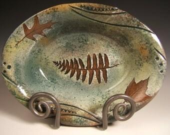 stoneware serving bowl,medium oblong with leaf impressions