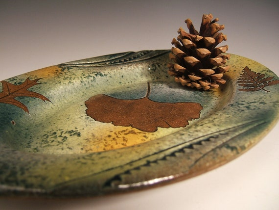 Serving Dish Serving Tray in Green Leaf Pattern with Tree Leaf Impressions-Gingko,Pin Oak & Rabbitfoot Fern