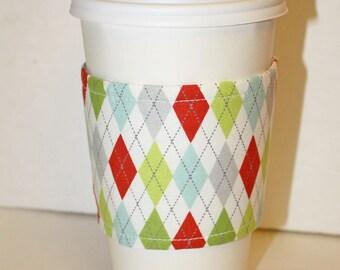 Holiday Argyle Reusable Coffee Sleeve