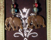 Brass Elephant and Venetian Glass Bead Earrings