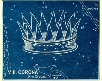 "Vintage Constellations Print ""Crown of Stars"" Nature Art Print - Night Sky Stars - Surreal Fairy Tale Art"
