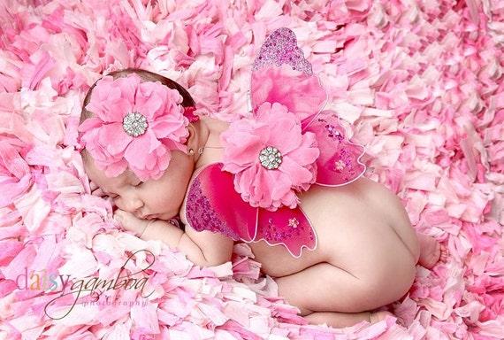 Newborn Wings..Photo Prop..Baby Wings..Hot Pink Newborn Wing and Headband Photo Prop Set...READY TO SHIP
