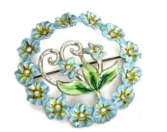 Coro Katz 1942 Blue Green Enamel Flower Brooch
