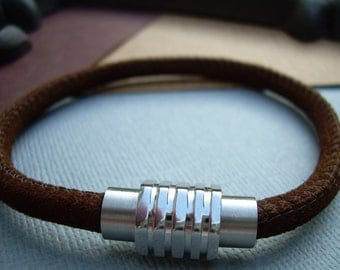 Leather Bracelet with Stainless Steel Magnetic  Clasp, Brown Stitched Suede