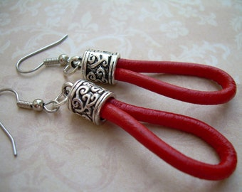 Simple Red Leather Earrings - Urban Survival Gear USA