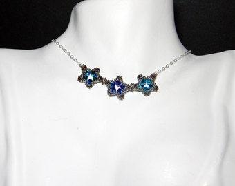 "Peacock Swarovski Crystal Star Necklace Beadweaving Sterling Silver - ""Phyrra's Peacock"""