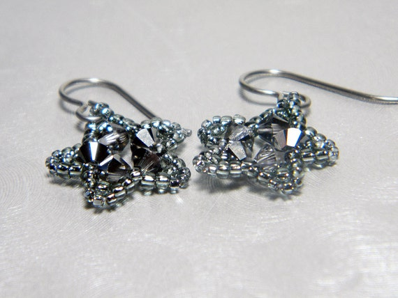 "Charcoal Silver Swarovski Star Earrings Beadweaving Niobium Ear Wires  - ""Silvered Star"""
