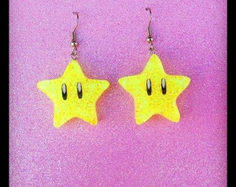 Super Mario Invincibility Star Earrings (Surgical Steel)