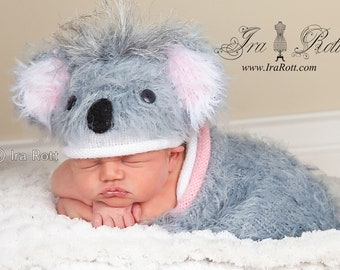 Koala Bear Fuzzy Hat and Cocoon Set for Newborn Babies - READY to Ship