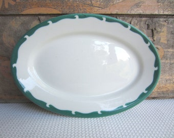 Vintage Green Scallop Airbrush Oval Restaurant Platter Sterling Vitrified China