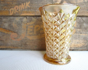 Vintage Peach Lustre Glass Vase Diamond Pattern