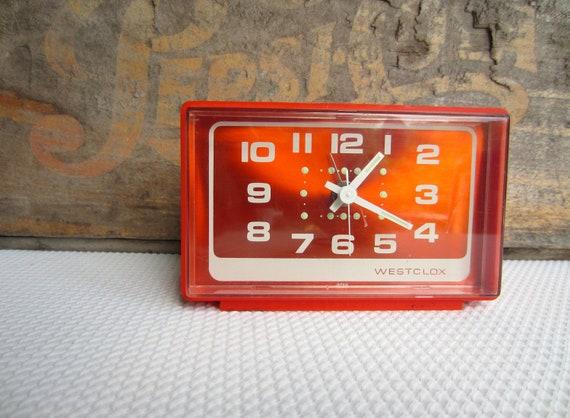Vintage Retro Bright Orange Westclox Alarm Clock made in Japan Battery Operated