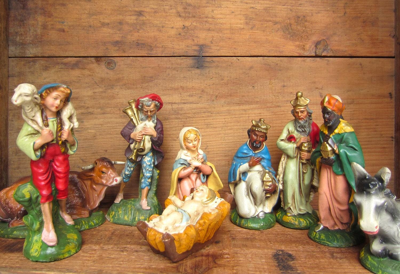 Vintage 1950's Nativity Creche Figurines set of 9