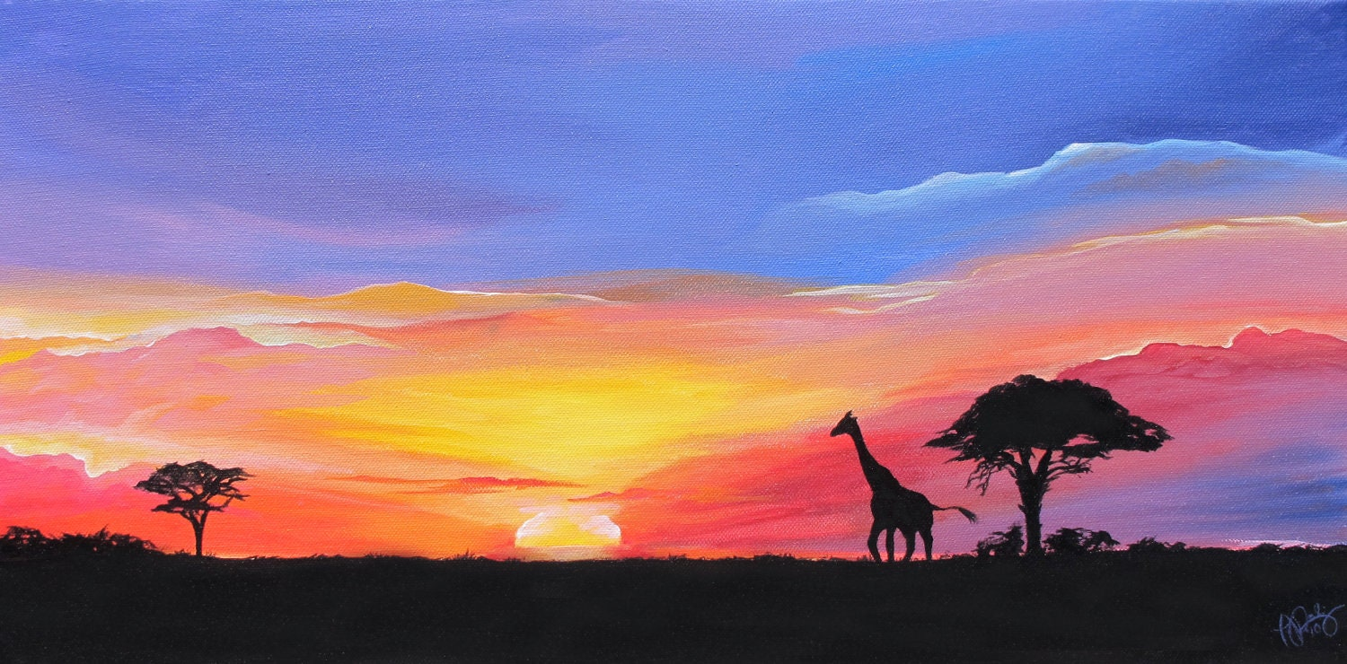 African Sunset Landscape Painting: Vibrant Masai by ...