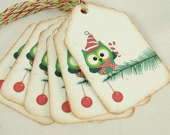 Tags Christmas Owl on Christmas Tree Christmas Gift Wrapping - T206