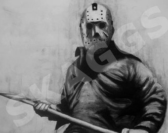 His Name Was Jason. Print of charcoal original. Jason Voorhees Friday the 13th