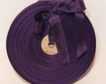 Vintage 1930's-40's French Woven Ribbon -Milliners Stock- 5/8 inch Purple