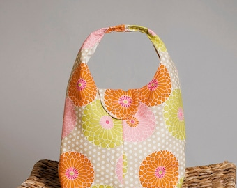 Insulated Lunch Bag - Bright Floral Orange Lime and Pink