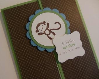 Monkey Baby Shower Invitations, Monkey Birthday Invitations, Jungle Invitations - Set of 8