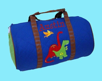 Child's Monogrammed Stephen Joseph DINO Quilted Duffle Bag