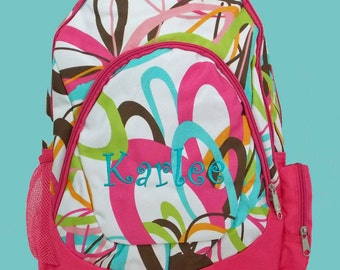 Personalized Large Backpack Mult Colors Print Hot Pink Blue Brown White With Hot Pink Trim-Monogramming Included